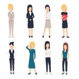 Kläder för kvinnor i regeringsställning Härlig kvinna i affärskläder Affärskvinnor föreställer, vektor illustrationer