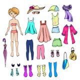Kläder för pappers- docka och för en uppsättning för henne royaltyfri illustrationer