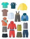 Kläder för pyser i plan design Arkivfoton