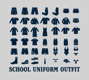 Kläder för skolalikformig vektor illustrationer