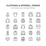 Kläder fasionlägenhetlinje symboler Män kvinnadräkt - klä, klå upp ner, jeans, underkläderna, tröja Tunt linjärt royaltyfri illustrationer
