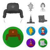 Kläder kvinna, kremlin som bygger Symboler för samling för Ryssland landsuppsättning i monokrom, materiel för symbol för lägenhet vektor illustrationer