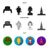 Kläder kvinna, kremlin som bygger Symboler för samling för Ryssland landsuppsättning i svart, lägenhet, monokromt stilvektorsymbo vektor illustrationer