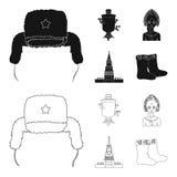 Kläder kvinna, kremlin som bygger Symboler för samling för Ryssland landsuppsättning i svart, materiel för symbol för översiktsst vektor illustrationer