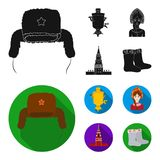 Kläder kvinna, kremlin som bygger Symboler för samling för Ryssland landsuppsättning i svart, materiel för symbol för lägenhetsti stock illustrationer