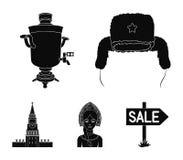 Kläder kvinna, kremlin som bygger Symboler för samling för Ryssland landsuppsättning i svart stilvektorsymbol lagerför illustrati royaltyfri illustrationer
