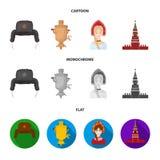 Kläder kvinna, kremlin som bygger Symboler för samling för Ryssland landsuppsättning i tecknade filmen, lägenhet, monokromt stilv royaltyfri illustrationer