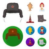 Kläder kvinna, kremlin som bygger Symboler för samling för Ryssland landsuppsättning i tecknade filmen, materiel för symbol för l vektor illustrationer