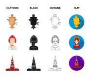 Kläder kvinna, kremlin som bygger Symboler för samling för Ryssland landsuppsättning i tecknade filmen, svart, översikt, symbol f royaltyfri illustrationer