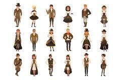Kläder, mannen och kvinnan in för folk som ställde iklädd historisk bär den bruna fantasidräkten, vektorillustrationer på en vit stock illustrationer
