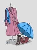Kläder och tillbehör för hösten och våren Royaltyfri Fotografi