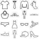 Kläder och tillbehör som shoppar symbolsuppsättningen också vektor för coreldrawillustration Arkivbild