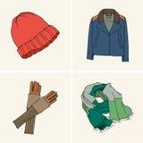Kläder och tillbehör Uppsättning 1 royaltyfri illustrationer