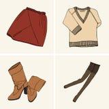 Kläder och tillbehör Uppsättning 3 royaltyfri illustrationer