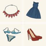 Kläder och tillbehör Uppsättning 5 stock illustrationer