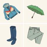 Kläder och tillbehör Uppsättning 7 vektor illustrationer