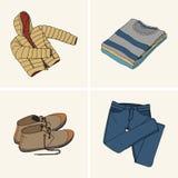 Kläder och tillbehör Uppsättning 9 stock illustrationer