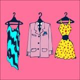 Kläder på hängare Stock Illustrationer