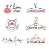 Kläder shoppar fastställd design för modelogovektor Arkivfoton