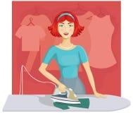 kläder som stryker kvinnan stock illustrationer