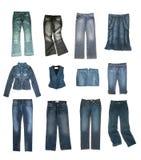 kläderdenimset Arkivbild