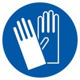 Kläderhandskar - säkerhetstecken Arkivbilder