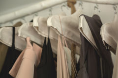 kläderkvinnlign shoppar arkivfoto