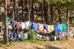 Kläderlinje i en campingplats royaltyfri foto