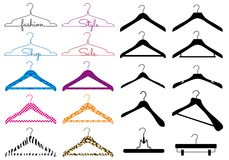 Klädhängare vektoruppsättning royaltyfri illustrationer