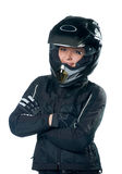 klädmotorcykelkvinna Arkivbild