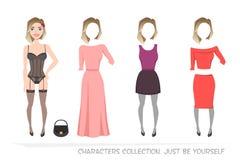 Kläduppsättningar för kvinnlig Konstruktörtecken royaltyfri illustrationer