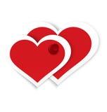 Klämmd fast vektor för hjärtaklistermärkear push Arkivfoton
