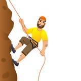 klängande rock för klippaklättrare till Mannen begår för att stiga stupet huvudet för uppnosiga gulliga hundar för bakgrundsteckn stock illustrationer