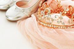 Klänning för chiffong för tappningtyll rosa, krona och silverskor på trävitt golv arkivbilder