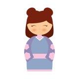 klänning för japansk docka för flicka traditionell royaltyfri illustrationer