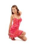 klänning knäfallen ladyred Fotografering för Bildbyråer