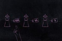 Klänningar med olika prislappar & hand som pekar på den mest före detta Arkivbild