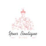 Klänningboutique brud- Logo Template Illustration Vector Design Royaltyfria Foton