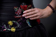 klänningemroideryblomma Arkivbild