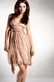 klänningen snör åt kvinnan Royaltyfri Bild