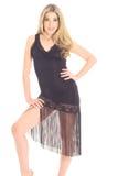 klänningflickan isolerade salsawhite Royaltyfri Fotografi