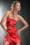 klänningflickastående Arkivfoton