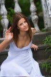 klänningflickawhite Royaltyfria Bilder