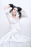 klänningflickawhite Royaltyfri Bild