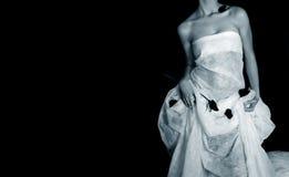 klänningflickawhite Arkivbilder