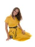 klänningflickayellow Arkivbilder