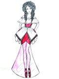 klänninginnegrejen skissar arkivbild