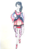 klänninginnegrejen skissar Arkivbilder