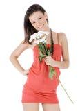 klänningkvinnlign blommar red Royaltyfria Bilder