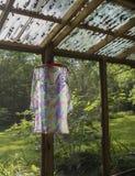 Klänninguttorkning på hängare Arkivfoton